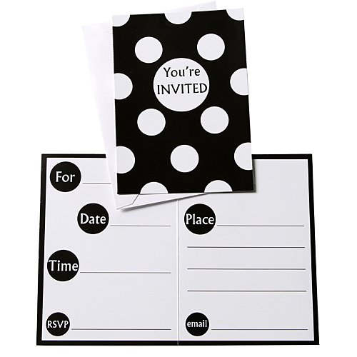 Polka Dot Invitations, Black, 8 Count ()