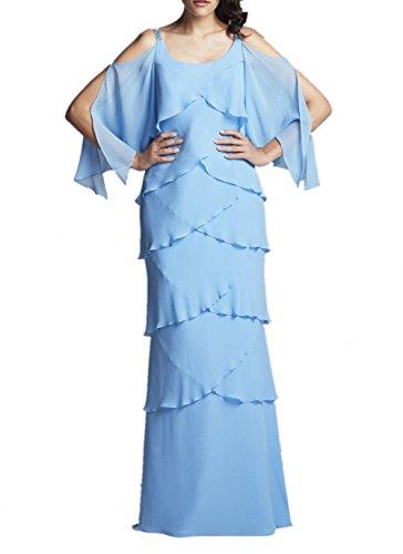Hell Ballkleider Braut La Brautmutterkleider Chiffon Blau Zwei Blau Royal Abendkleider Marie Herrlich Traeger mit 107H67nxF