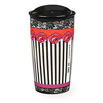 New Starbucks Anna Sui Double Wall Mug Series Collector Limited Edition Rose Stripe