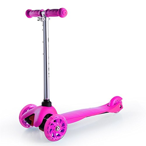 Kool KiDz Kick Scooter, Alloy Folding Scooter, Super-Tough Aluminum Stunt Kiddie Kick Scooter with Adjustable Handle T-Bar (Pink)