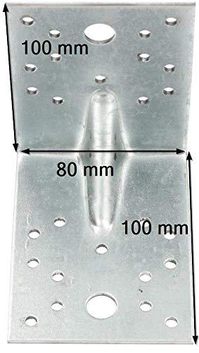 KOTARBAU /Équerre de jonction dangle 100 x 100 x 80 mm zingu/ée /à chaud renforc/ée plaque de fixation support angle surface multi-trous 50 pi/èces