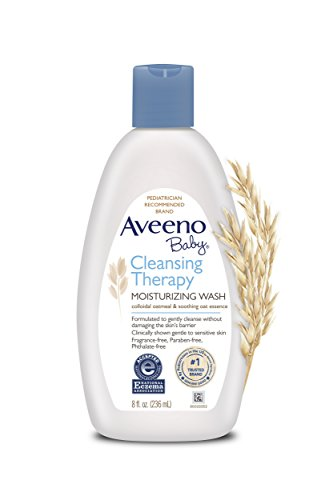 Aveeno Baby Cleansing Eczema Therapy Moisturizing Wash Scent Free, 8 Fluid Ounce