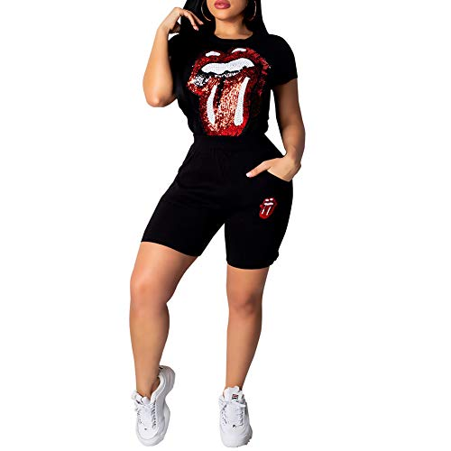 Womens 2 Piece Outfits Fashion Casual Eye Sequins Round Neck Short Sleeve Tracksuit Jumpsuit Set