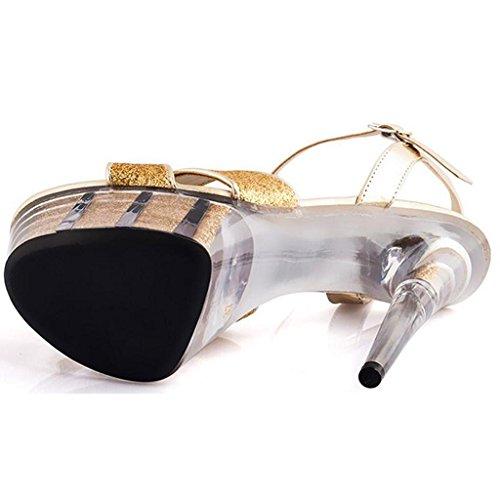Delle Piattaforma Centimetri Nozze Donne Fondo Alti Spesso D'oro Impermeabile 15 Talloni Modello Sandali Di Cristallo Passerella Scarpe Llp Di wFA1ttq