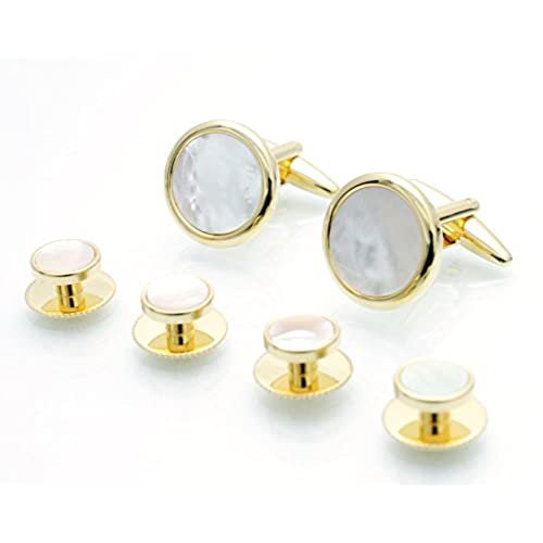 Gold White Mother of Pearl Cufflinks and Dress Studs Sets Tuxedo MOP Cuff Links & Stud Set 53151 MOP