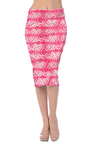 Womens Midi Mid Below Knee Pencil Skirt for Work Made in USA-Ocean hot Pink,Large (Hot Pink Pencil Skirt compare prices)
