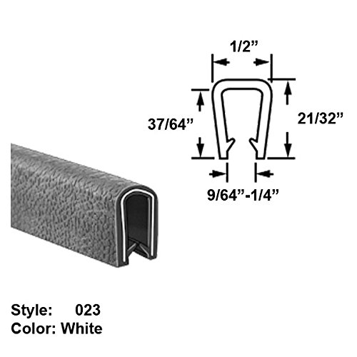"Discount Heavy Duty Vinyl Plastic U-Channel Push-On Trim, Style 023 - Ht. 21/32"" x Wd. 1/2"" - White - 25 ft long for sale"