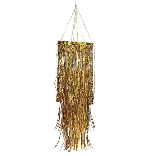 Fun Express - Gold Metallic Foil Fringe Chandelier for Wedding - Party Decor - Hanging Decor - Misc Hanging Decor - Wedding - 1 -