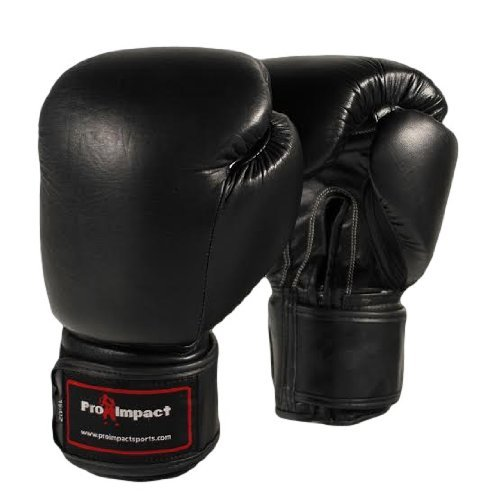 Genuine Leather Boxing Gloves Black 16 Oz. Pro Impact ($80 Value) by Pro Impact