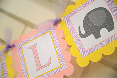 Light Pink and Yellow Its a Girl Elephant Baby Shower Banner in Zebra Print, Customizable It's a Girl Elephant Banner, Elephant Baby Shower Zebra Print Decorations
