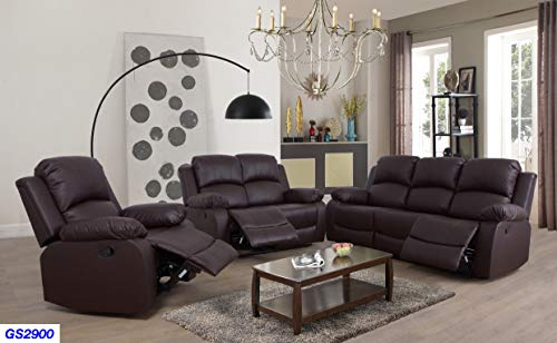 Lifestyle Furniture 3-Pieces Reclining Living Room Sofa Set,Bonded Leather,Brown(LS2900-3PC)