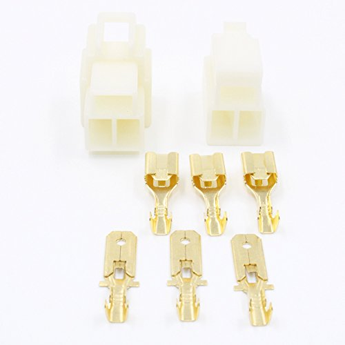 TinFmoon 5 Sets 3 Pin Way Electrical Wire Connector Plug, 6.3mm Male Female Socket Plug, Terminal for Motorcycle Car ()