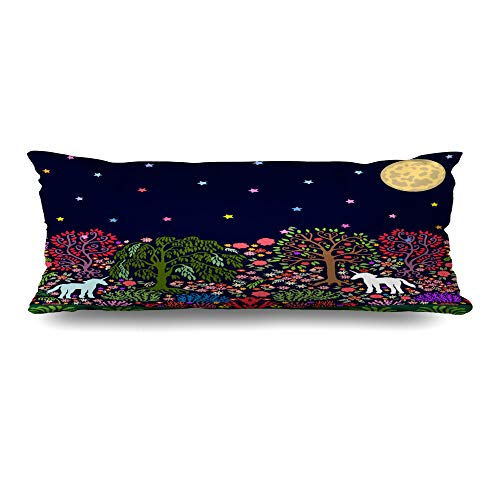 Ahawoso Body Pillows Cover 20x54 Inches Moon Green Garden Fantasy Night Magic Forest Folk Unicorns Parks Pink Willow Abstract Nouveau Decorative Cushion Case Home Decor Pillowcase