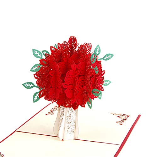 (ENJOYPRO Rose Card, 3D Pop Up Rose Bouquet Greeting Cards, Handmade Pop Out Red Rose Flower Cards with Envelope for Valentine's Day, Anniversary, Mother's Day (3D Rose Bouquet, Pack of 1))