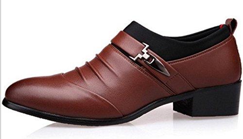 HYLM Zapatos de cuero de los hombres Zapatos de negocios de moda Zapatos de vestir de boda Brown