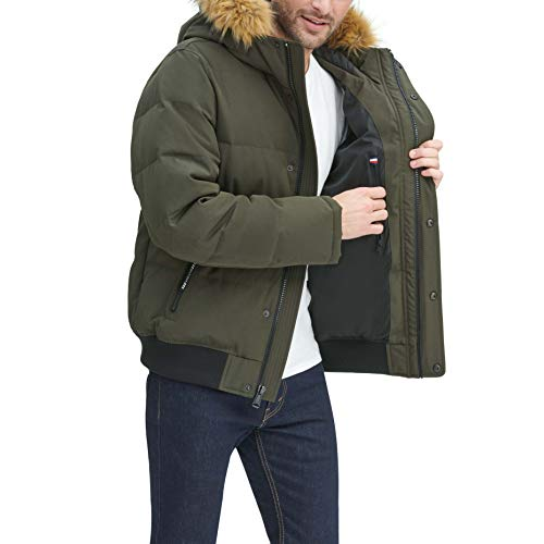 Tommy Hilfiger Men's Quilted Arctic Cloth Snorkel Bomber Jacket with Removable Hood (Standard and Big & Tall)