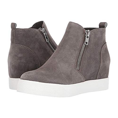 2 Platform Leather Shoes Ankle Wedge Sneakers Faux Heel Casual taupe Womens Zipper Booties Comfort Rq7wq8