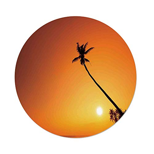 Polyester Round Tablecloth,Ocean,Silhouette of a Tall Palm Tree at Tropics at Warm Sunset Nature Summer Hawaiian Paradise Photo,Orange,Dining Room Kitchen Picnic Table Cloth Cover,for Outdoor Indoor