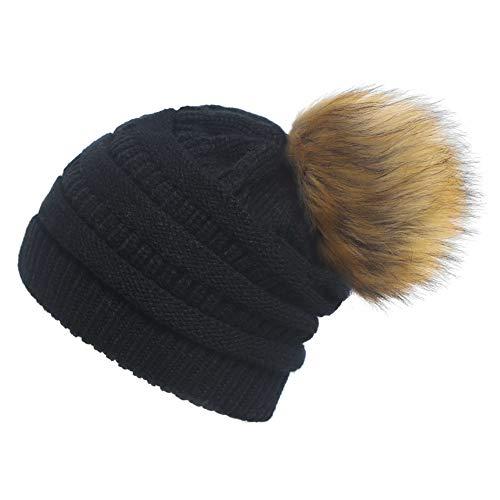 Yetagoo Womens Slouchy Winter Knit Beanie Cap Chunky Faux Fur Pom Pom Hat Bobble Ski Cap (Black)