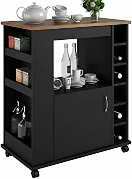 Portable Kitchen Island Cart With Wine Rack â Rolling Utility Island Is Perfect For Serving Guests In Style In A Durable Wood Design With Drawer Storage Kitchen Islands