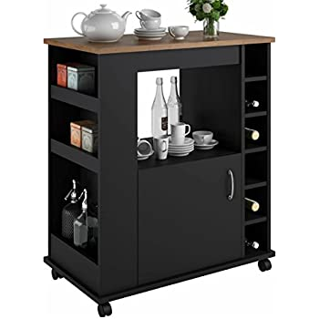 Good Portable Kitchen Island Cart With Wine Rack U2013 Rolling Utility Island Is  Perfect For Serving Guests