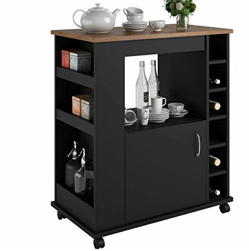Portable Kitchen Island Cart With Wine Rack – Rolling Utility Island is Perfect for Serving Guests in Style in a Durable Wood Design With Drawer Storage