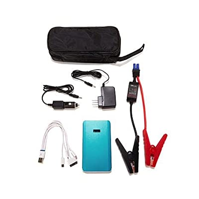 6,000mAh Vehicle Jump Starter and Portable Device Charger with Built-In Flashlight, Accessories and Case - Silver