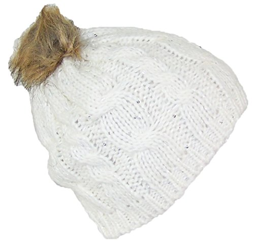 Best Winter Hats Cable & Rib Knit Skull Beanie W/Sequins & Faux Fur Pom Pom (One Size) - Cream
