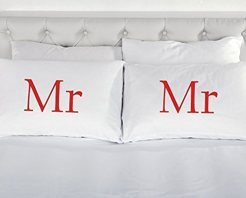 60 Second Makeover Limited White with Red Mr and Mr Novelty Pillowcase Pillow Case Gift Funny Bedding Present Gay Marriage Civil Partnership