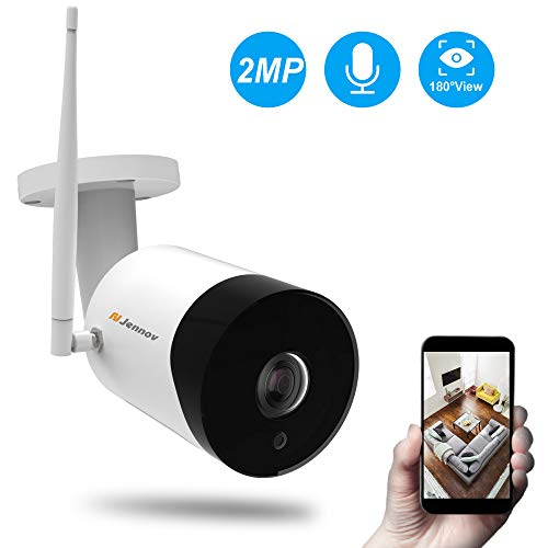 Fisheye WiFi Security Camera, Jennov Wireless IP Security Camera Outdoor Weatherproof & Indoor Baby Monitor with 2-Way Audio Night Vision for Kids Pets Elderly Home Surveillance 180-Degree Large View