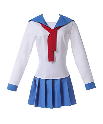 Lemail Girls Japanese Sailor Uniform Long Sleeve Cosplay Costume Outfit Blue&White GC376A-M