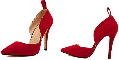 ShiYuan - Zapatos de tacón con correa y lazo Azul