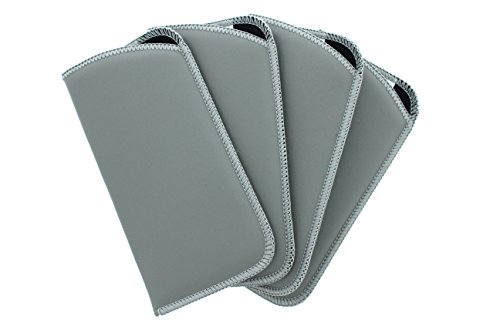 4 Pack Classic Faux Leather Eyeglass Slip Cases In Gray For Men And Women