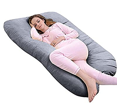 Meiz U Shaped Body Maternity Pregnancy Pillow with Zipper Removable Velvet Cover (Gray)