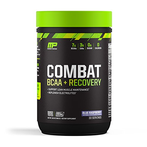 MusclePharm Combat BCAA + Recovery, BCAA 10 Grams, Electrolytes, Post-Workout Recovery, BCAA Post-Workout Powder, Enhanced Recovery, Pre-Workout Formula, Blue Raspberry, 1.99-Pounds, 30 Servings