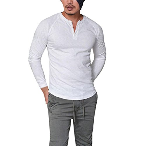 V-neck Muscle Tee (IEason Men Top, Fashion Men's Slim Fit V Neck Long Sleeve Muscle Tee T-Shirt Casual Tops Blouse (M, White))