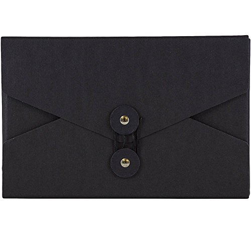 - JAM PAPER Kraft Portfolio with Button and String Tie Closure - Video Size - 5 1/2 x 8 1/2 x 1 - Black Recycled - Sold Individually