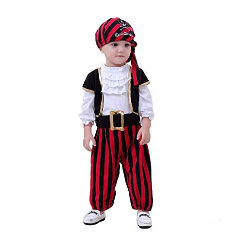 Easy Pirate Costume For Kids (Baby Pirate Costume, Ultra Comfortable Stripes Captain Infant Costumes with Vest, Cap and Belt for Boys,)