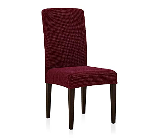 Premium Jacquard Dining Room Chair Slipcovers Sets Stretch Furniture Protector Covers for Armchair Removable Washable Elastic Parsons Seat Case for Restaurant Hotel Ceremony (4, Wine)