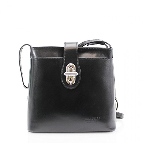 Ladies Vera Pelle Italian Leather Small Cross Body Shoulder Bag Satchel Handbag New UK Black