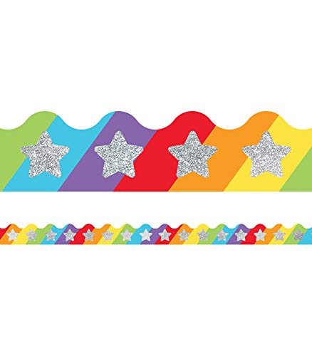 - Sparkle and Shine Glitter Stars on Rainbow Scalloped Borders