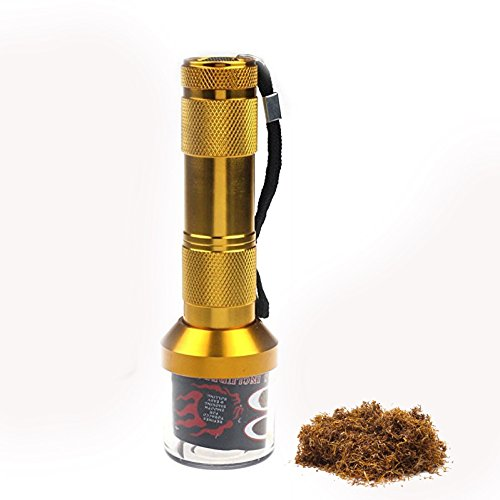 Flashlight Electric Tobacco weed Grinder Crusher Herb Spice Smoke Grinders as gift cutting machine for Smoking Pipes (Golden)
