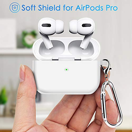 Protective Case Cover for AirPods Pro 2019, Soft Skin Silicone Case with Keychain, [Front LED Visible] [Shock & Dust Resistant] for AirPod Pro Skin (Clear White)