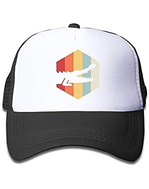 Retro 70s Alligator On Boys and Girls Trucker Hat, Youth Toddler Mesh Hats Baseball Cap