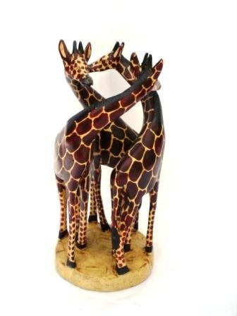 Katangi Handcrafts Hand Carved Wooden Giraffe 3 In 1 30cm