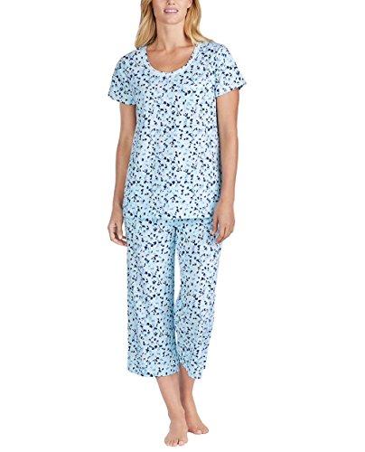 Carole Hochman Women's 2 Piece Capri Pajama Set (Blue Floral, Small)