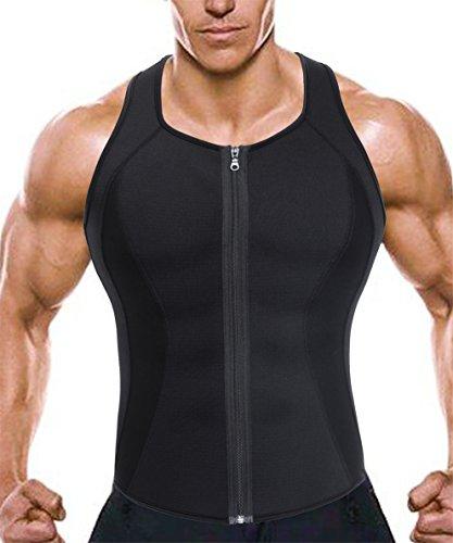 Men Hot Workout Sport Vest Waist Trainer Zipper Tank Top Weight Loss Body Shaper