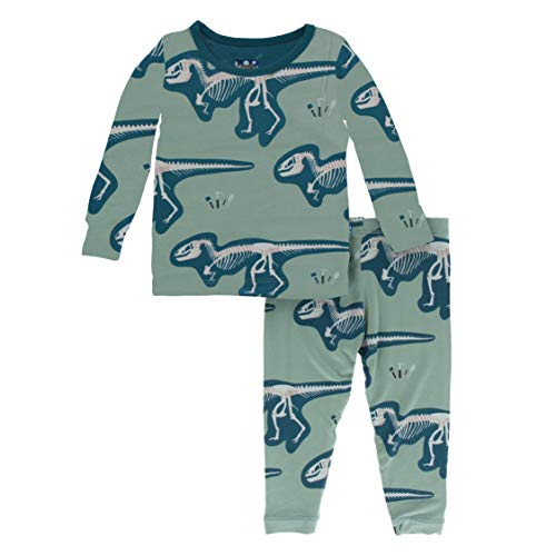 Kickee Pants Little Boys Custom Print Long Sleeve Pajama Set - Shore T-Rex Dig with Heritage Blue, 6 Years -