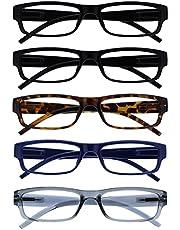 The Reading Glasses Company Value 5 Pack Lichtgewicht Mens Womens Zwart Bruin Donkerblauw Grijs RRRRR32-11237 +1.50