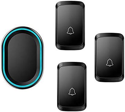 ワイヤレスドアベル、3つのプッシュボタンと1つのレシーバー、防水壁プラグインコードレスドアチャイム(LEDフラッシュ付き)、300Mレンジ、58着メロ、4ボリュームレベル,黒